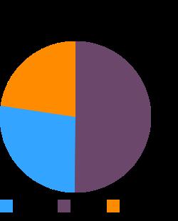 Fast foods, cheeseburger; single, large patty; plain macronutrient pie chart