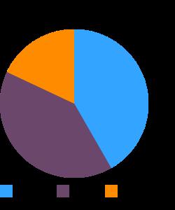 Fast foods, hotdog, with chili macronutrient pie chart
